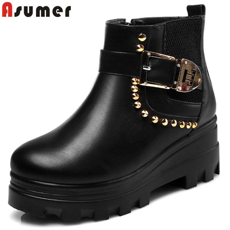 ASUMER Boots Buckle Wedges New-Arrival Genuine-Leather Women Fashion Zip Ankle Winter