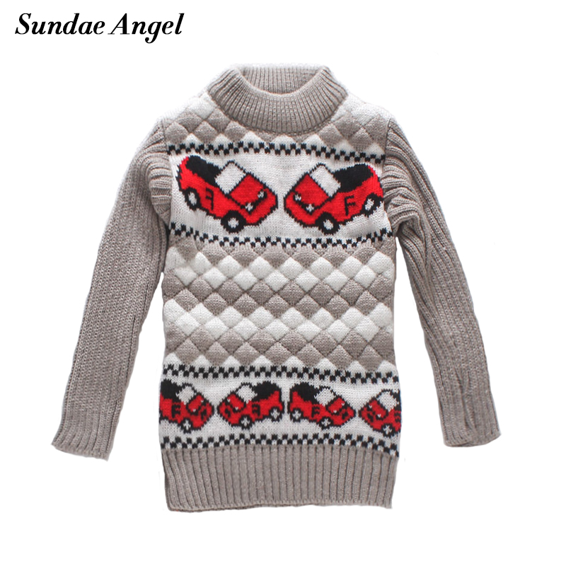 Sundae Angel Baby boy sweater O-Neck Collar Long Sleeve Car Pattern Winter Thicken For Kids Baby boys girls Sweaters Children's round neck stripe embellished long sleeve loose fitting thicken sweatshirt for men
