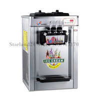Commercial Soft Ice Cream Machine Stainless Steel 3 Heads Capacity 22~25L/H for Amusement Parks Snack Street