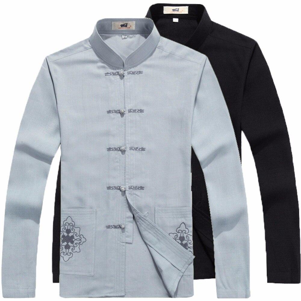 S M L XL XXL Handsome Chinese men/'s Linen Kung Fu shirt Tops dress shirt Sz