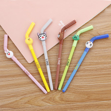 36 pcs/lot Straw Animal Gel Pen for writing Cartoon Bear Cat black ink Neutral Pen School Office Supplies Promotional Gift