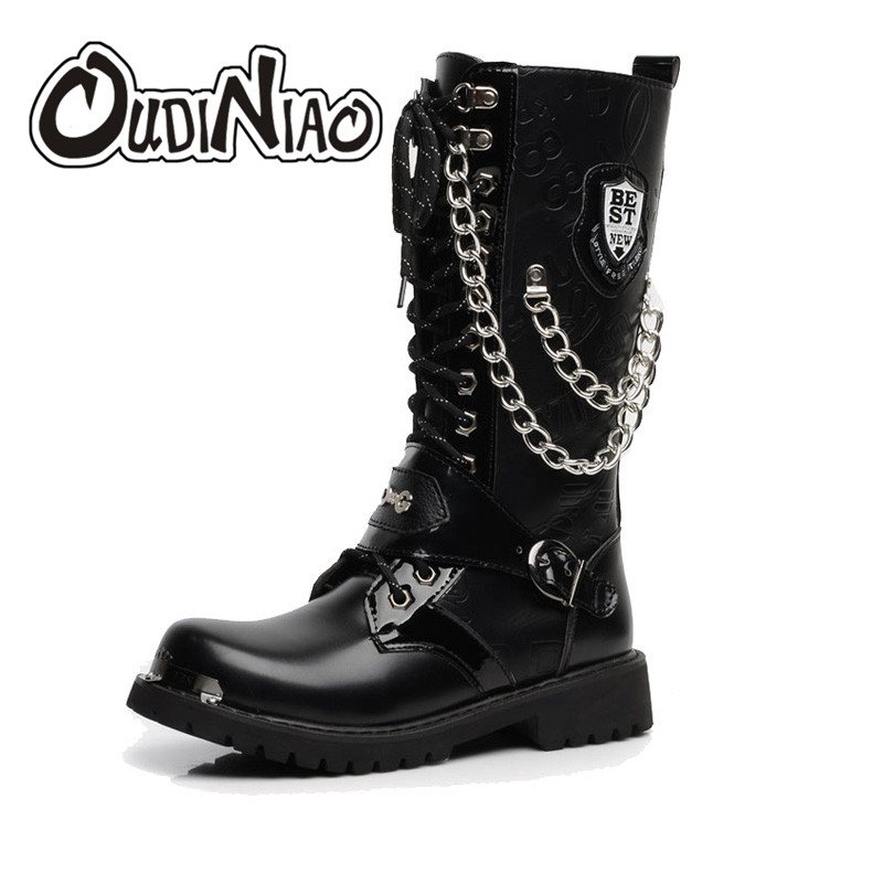 OUDINIAO Army Boots Men High Military Combat Men Boots Mid Calf Metal Chain Male Motorcycle Punk