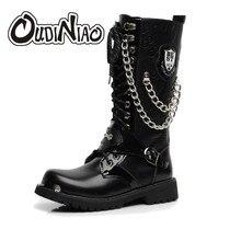 OUDINIAO/армейские ботинки; мужские высокие военные ботинки; мужские ботинки до середины икры с металлической цепочкой; мужские панк-сапоги для езды на мотоцикле; Весенняя Мужская обувь в стиле рок