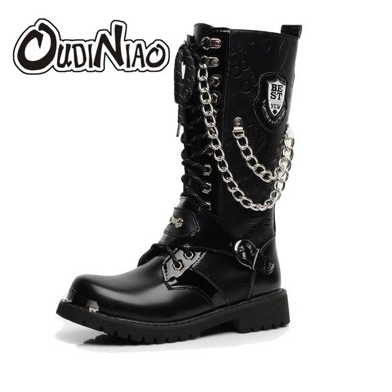 OUDINIAO armée bottes hommes haut Combat militaire hommes bottes mi-mollet métal chaîne mâle moto Punk bottes printemps chaussures pour hommes Rock