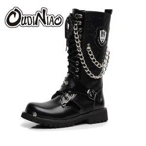 Image 1 - OUDINIAO bottes militaires pour hommes, bottes militaires hautes, bottes de Combat, mi mollet, chaîne métallique, moto Punk, printemps chaussures pour hommes, Rock