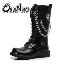 Oudiniao軍ブーツ男性高軍事戦闘男性ブーツミッドカーフ金属チェーン男性オートバイパンクブーツ春メンズ靴ロック