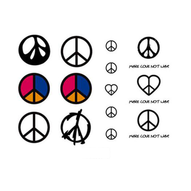 Yeeech Temporary Tattoos Sticker For Women Fake World Peace Sign