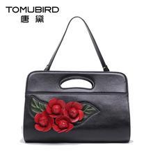 Genuine leather bag free delivery Women bag   Originality national wind handbag Dimensional flowers shoulder Messenger Bag