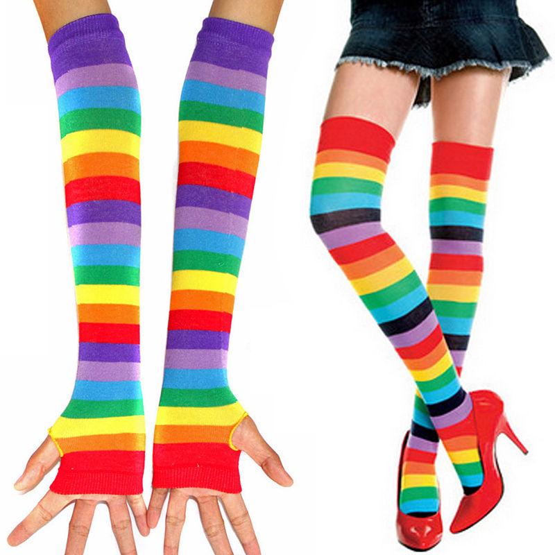Women Warm Sexy Autumn Winter Long Sleeve Fingerless Sunscreen Arm Gloves Rainbow Anime Stockings Socks Beauty Rainbow Tights