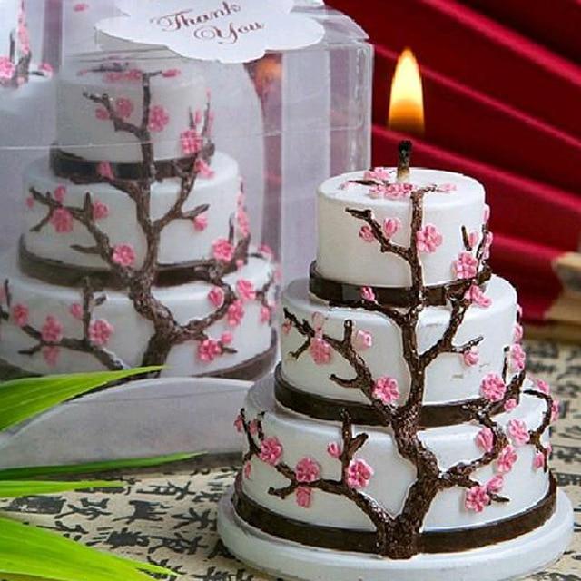 Super 3 Couche Gâteau Forme Bougie Cadeau Ensemble avec Cerise Fleurs D  VZ26