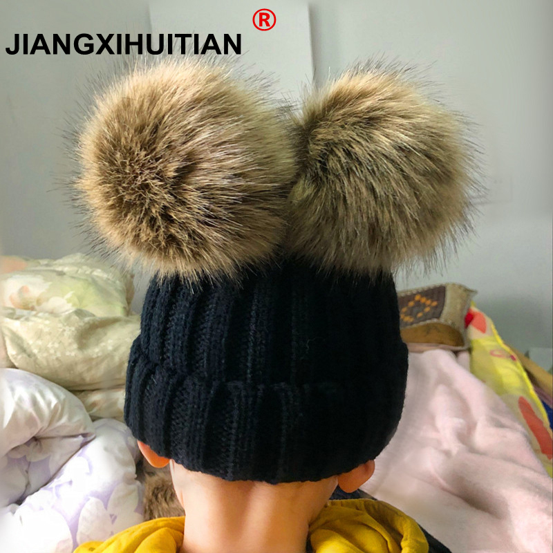 2018 Mink Fur Pompom Hat Women Winter Caps Knitted Wool Cotton Hats Two Pom Poms   Skullies     Beanies   Bonnet Girls Female Cap