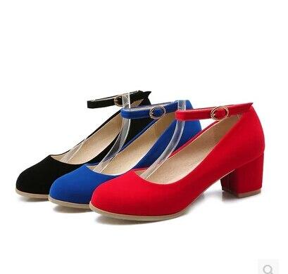 Hebilla Zapatos Negro Cm 2016 Negro azul Redonda rojo Talón Rojo Nuevo Alto 5 Trabajo De Grueso Tacón Helada Actuaciones Boda 6PxWSPn