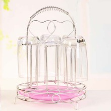 Multifunctional Stainless steel heart shape, 6 head upside down storage rack 20*27cm