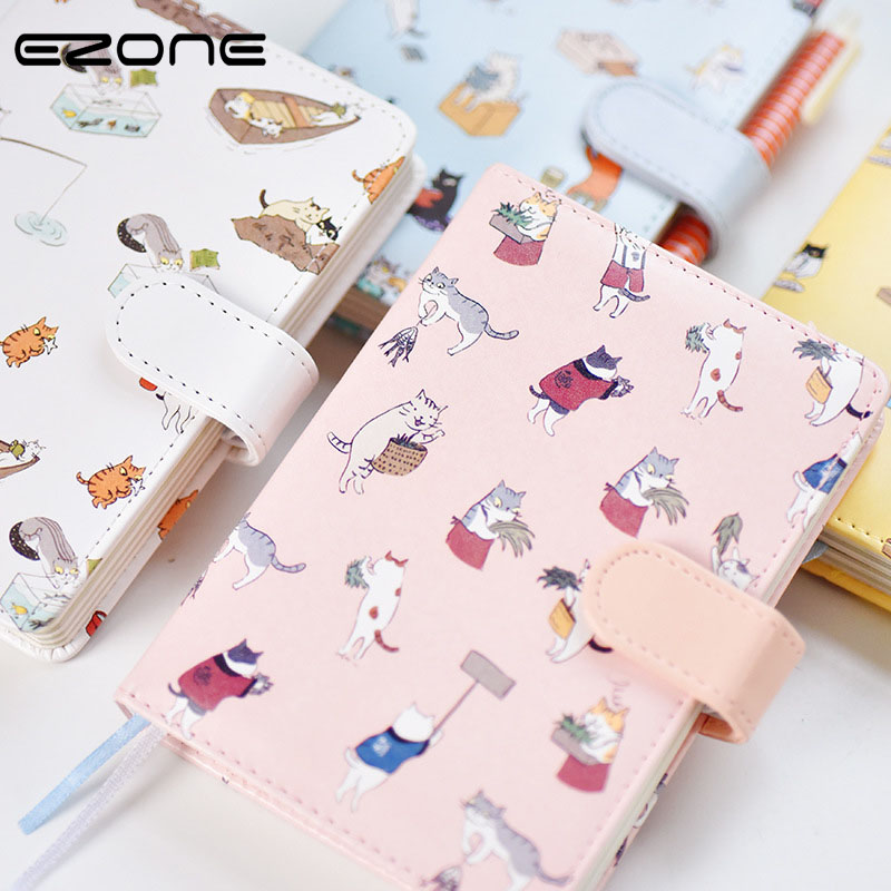 EZONE Cute Cartoon Notebook Printed Kawaii Cat Note Book PU Cover With Hasp Nopated Traveler Journey Diary School Office Supply ezone cute cartoon notebook printed kawaii cat note book pu cover with hasp nopated traveler journey diary school office supply