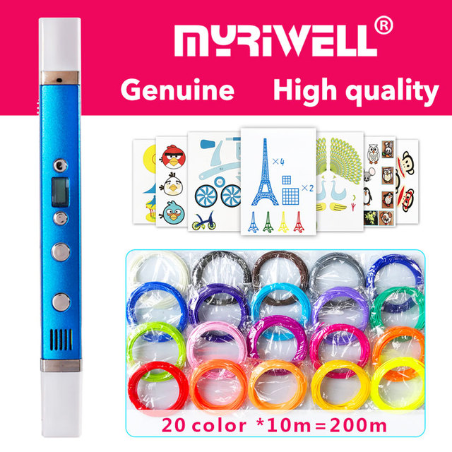 قلم ثلاثي الأبعاد من myriwell قلم ثلاثي الأبعاد ، شاشة LED ، شحن USB ، 3 d pen3d نموذج Smart3d قلم طباعة أفضل هدية لقلم Kidspen 3d 3 d