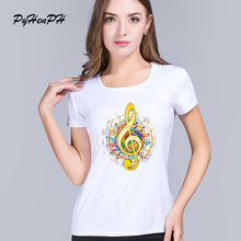 PinHe New2016 Brand Summer Clothing Treble Clef printed t shirts women Blusa Funny Music Note pattern Tee shirts femme tops