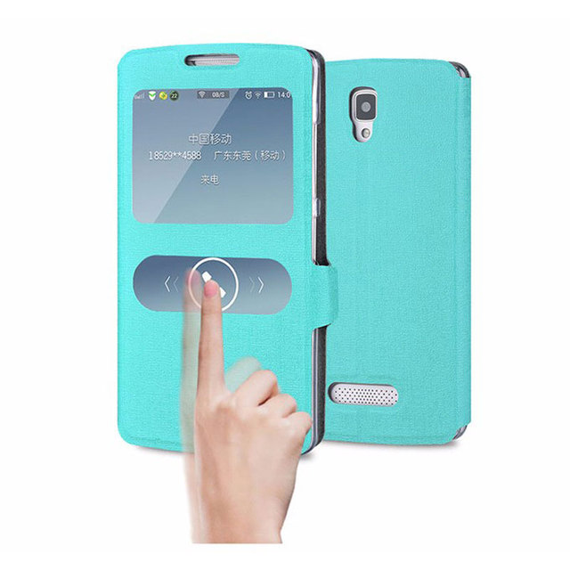 For Fundas Lenovo A2010 Case Window View PU Leather Capas Quick Answer Flip Cover Phone Case For Lenovo A 2010 A2010a A2010-a