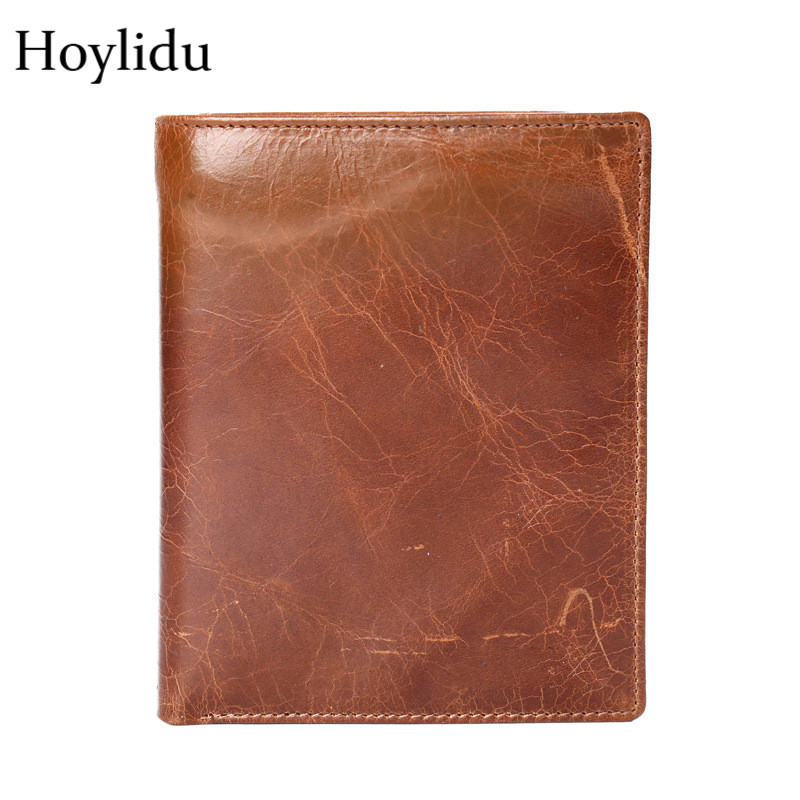 Quality Cow Leather Unisex Passport Card Holder Fashion Vintage Bifold Design Large Capacity Boarding Clip Casual Travel Wallets