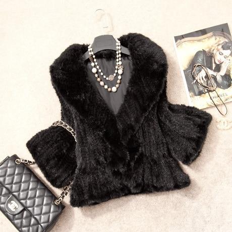 Véritable Vk1370 Automne Lady Manteau Col Femmes Veste Court Brown black Fourrure Survêtement Tricoté Vison Féminin À De Réel Volants Hiver qtTwrtF