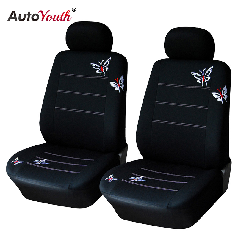 AUTOYOUTH Butterfly Embroidered Car Seat Cover Universal Fit Most Vehicles Seats Interior Accessories Black Seat Covers autoyouth hot sale front car seat covers universal fit tire track detail vehicle design seat protective interior accessories