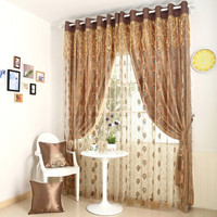 Window Curtain Backing Peacock Feather Tulle 150 265cm 2pcs Cortina Coffee Curtains Customizable Gold Tassels For