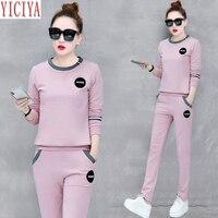 b51badfd19 YICIYA Pink Tracksuits Women Set 2 Piece Set Pants Suits And Top Plus Size  Large Co