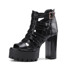 YeddaMavis Shoes Rome Punk Gothic Sandals Women Platform Thick Square Chunky Block High Heels Sandals Hollow Out Gladiator Shoes купить недорого в Москве
