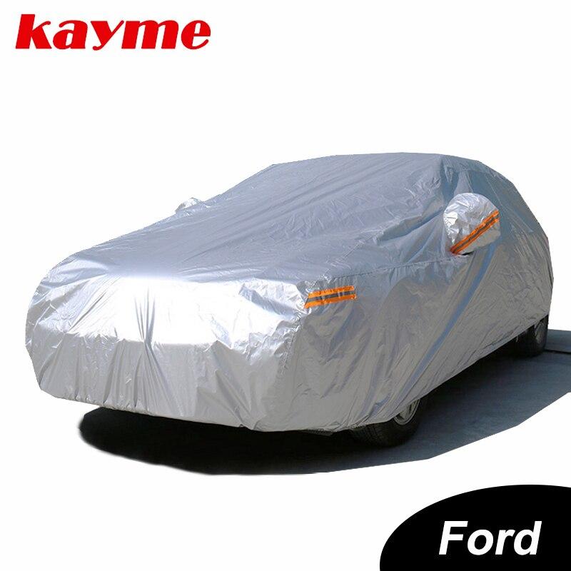 Kayme bâches de voiture imperméables couverture de protection solaire extérieure pour voiture pour ford mondeo focus 2 3 fiesta kuga ecosport explorer ranger