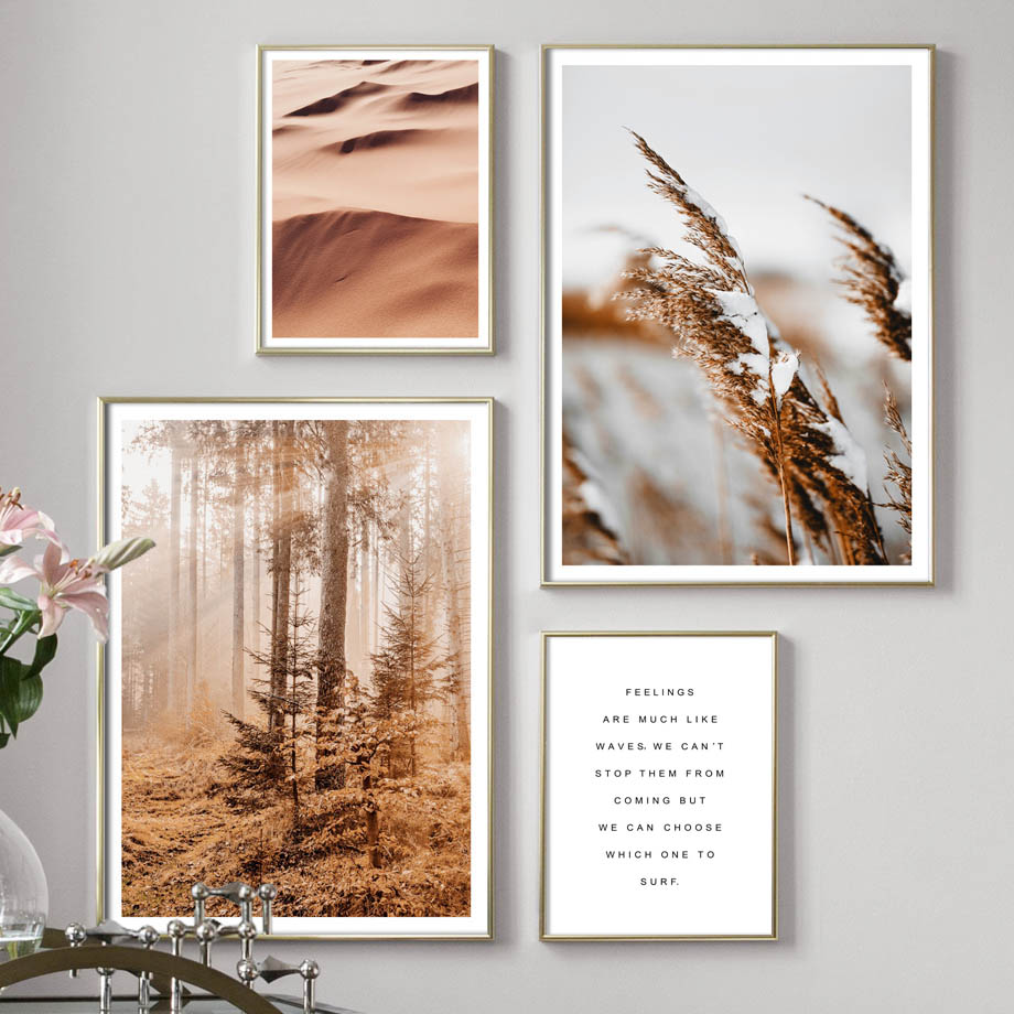 Forest Flower Wheat Plant Desert Quotes Wall Art Canvas Painting Nordic Posters And Prints Wall Pictures For Living Room Decor