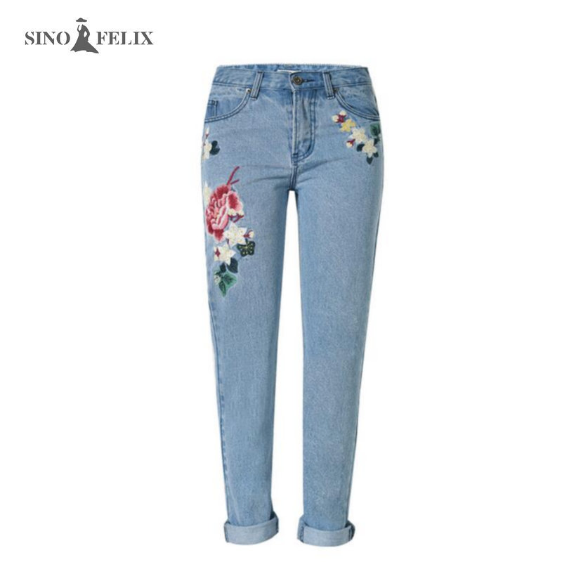 2017 spring new Women sweet floral embroidery pastoralism denim jeans pockets ankle length pants ladies casual trouse TOP118 2017 spring new women sweet floral embroidery pastoralism denim jeans pockets ankle length pants ladies casual trouse top118