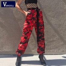 Vangull אדום הסוואה הרמון מכנסיים נשים Jogger צפצף קרסול אורך 2019 חדש אביב אופנה נקבה מקרית מטענים מכנסיים Camo הדפסה