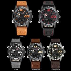 Image 3 - NAVIFORCE Brand Dual Display Watch Men Sport Quartz LED Watches Leather Band Analog Digital Wrist Watches 30M Waterproof Clock