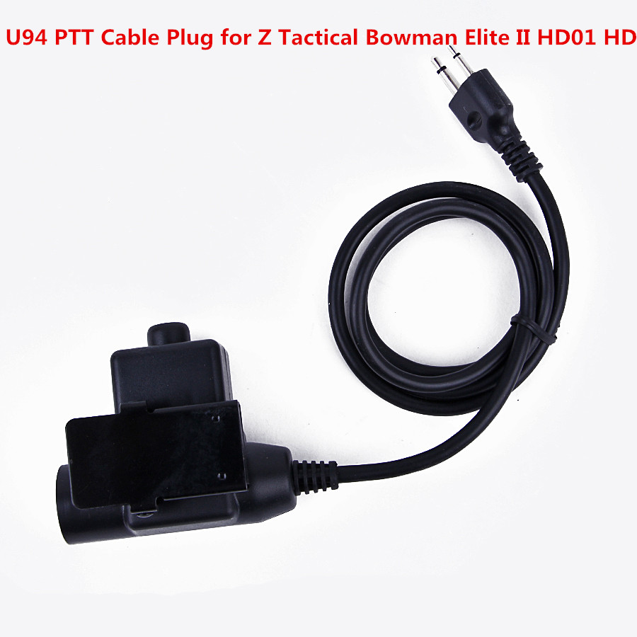 U94 PTT Cable Plug For Z Tactical Bowman Elite II HD01 HD02 Headset For IC 2Pin Radios Portable Two Way Radio Walkie Talkie