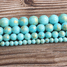 LanLi fashion natural Jewelry sky-blue gold colored stone Loose beads DIY woman bracelet necklace ear stud accessories