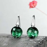 New Fine Solid Sterling Silver Earrings Women Green Crystal Dangle Earrings