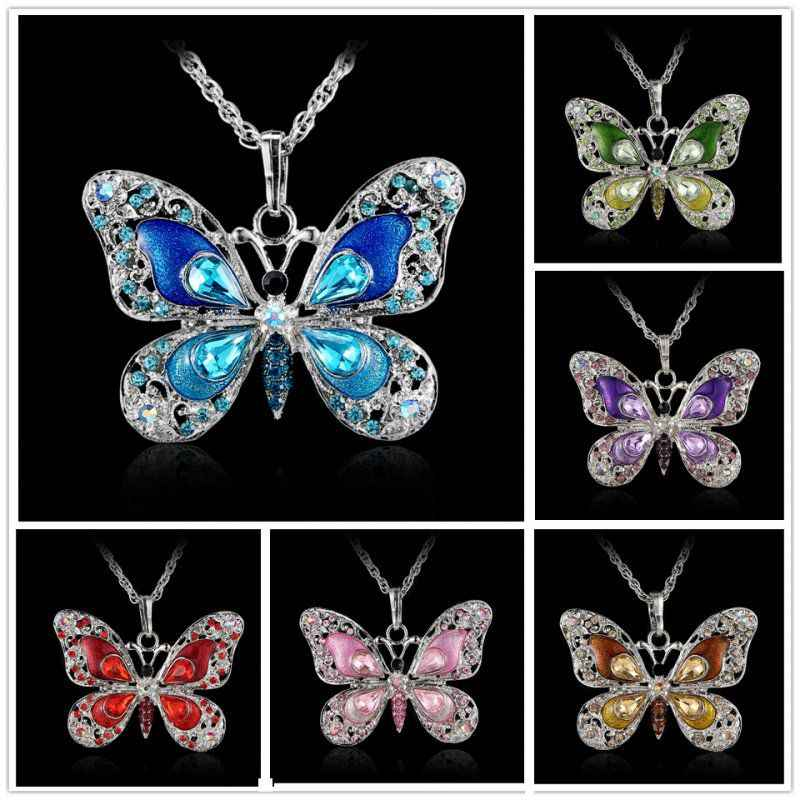 Rinhoo Beautiful Rhinestone Butterfly Necklaces For Women Necklace Pendants Silver Jewelry