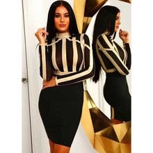 wholesale 2019 New dress black and gold Long sleeve Net yarn perspective Elastic tightness Cocktail party bandage (H2146)