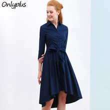 ONLY PLUS irregular hem dress Elegant deep blue dresses women Belt Fashion Cotton fabric for dress Button Sashes Autumn Vestidos