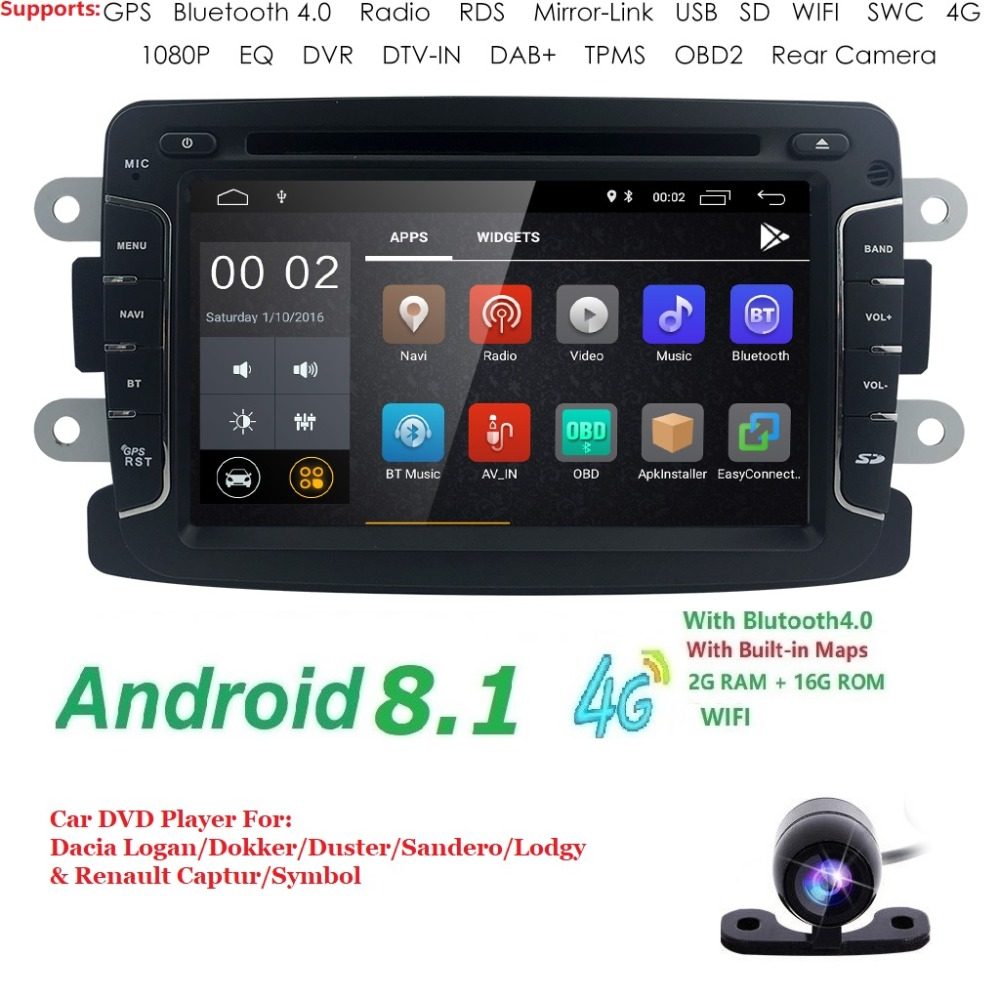 Android8.1 4G 2GRAM Car dvd player radio audio for RENAULT DUSTER Dacia LADA Captur Logan 2 Duster GPS Navigation 4G WIFI BT DAB