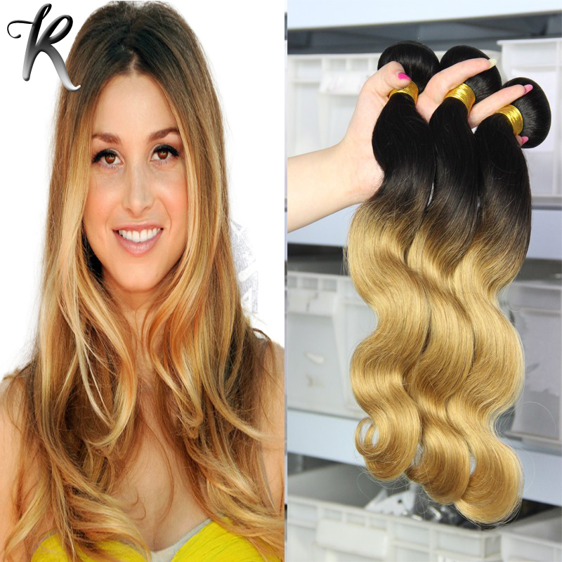 Brazilian Ombre 1b/27 Body Wave Rosa Hair Products Honey Blonde Extensions Two Tone Remy Dip Dye Weave