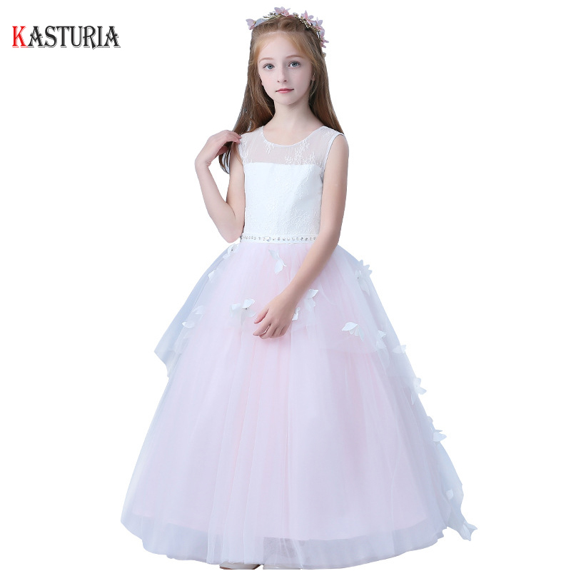 New Summer girls dress fashion kids dresses for girl pink flower unicorn party wedding princess teenager baby girls luxury dress 2018 summer new girls clothing lace mesh splicing baby dresses for girl party princess dress fashion petal kids girls dresses