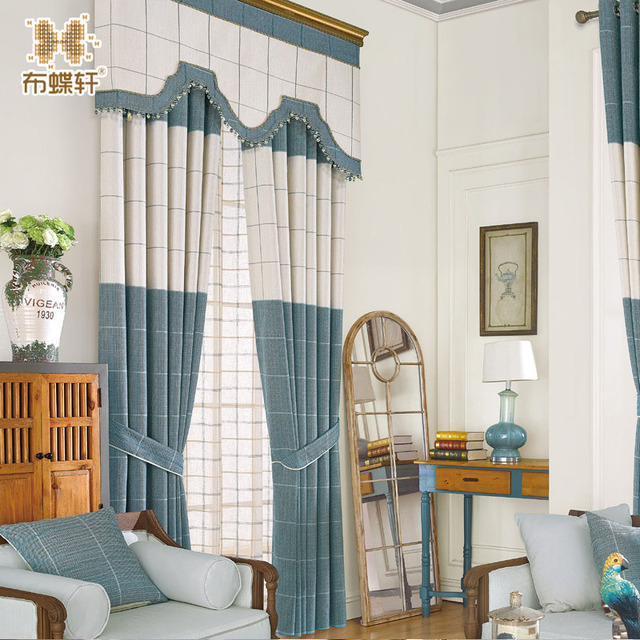 Blue White Plaid Curtains and Valance Chenille Luxury Drapes for ...