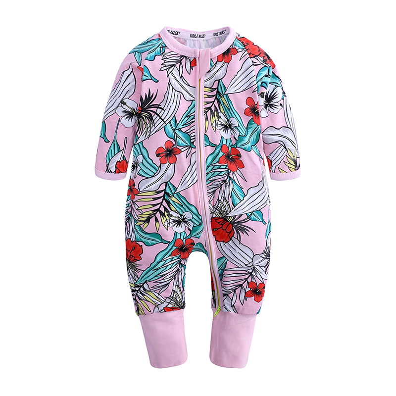 Spring Autumn Baby Romper Cotton Newborn Baby Clothes Long Sleeve Baby Girl Clothing floral Jumpsuit zipper Infant Clothes py391