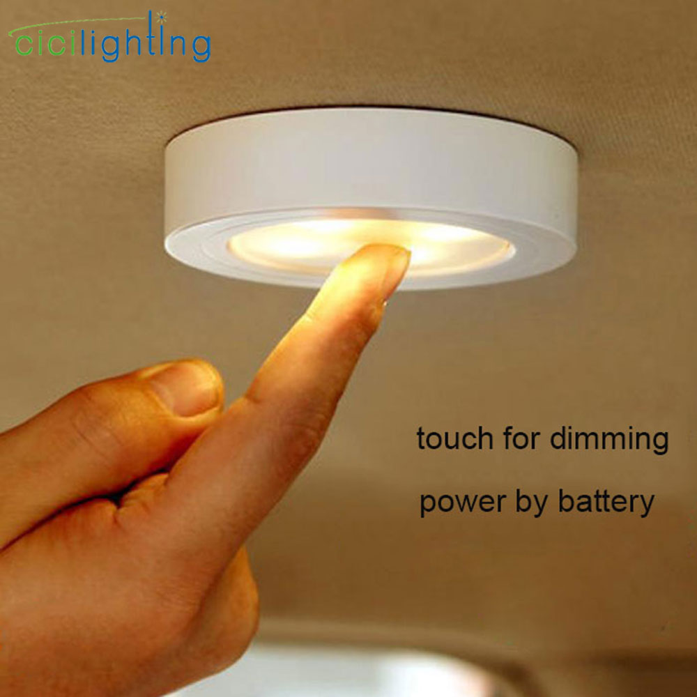 Black White Brown 1.2W 6 LED Night Lamp Battery DC 5V Stick Tap Touch Dimmable Security Kitchen Wall Car Night Lighting