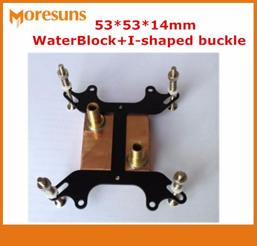 Free shipping 53*53*14mm Pure copper Water Cooling Block,I-shaped buckle+Computer copper CPU Water Block