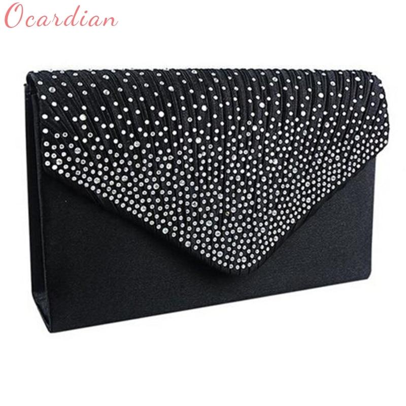 Ocardian NEW Popular Fashion Ladies Large Evening Satin Diamante Ladies Clutch Bag Party Envelope Bag Dropship #0725