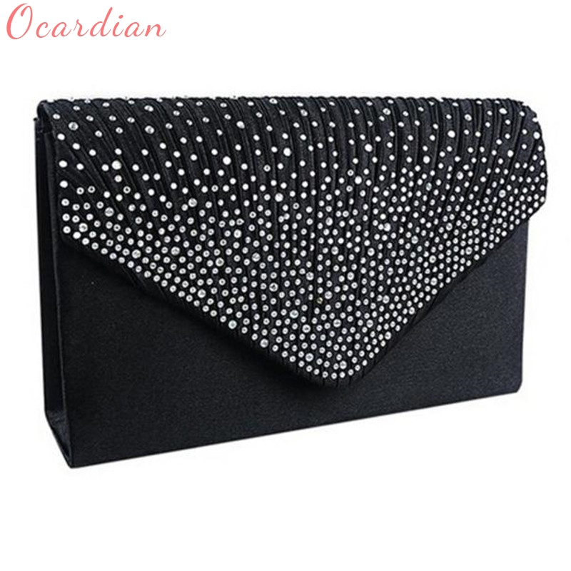 Ocardian NEW Popular Fashion Ladies Large Evening Satin Diamante Ladies Clutch Bag Party Envelope Bag Dropship #0725