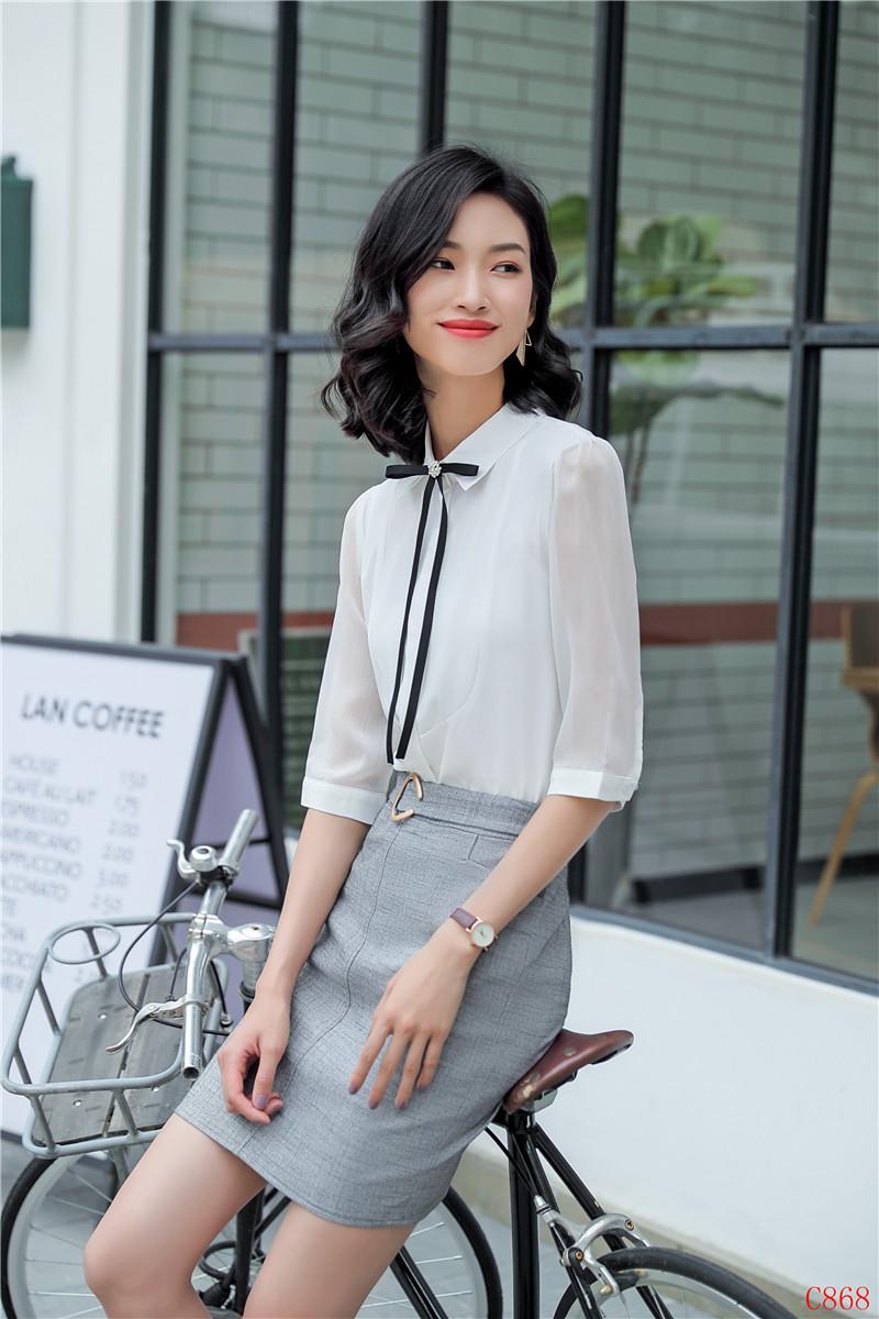 9f99bdd3f92b 2019 Sommer formale elegante Damen Damen schwarze Blusen Business Anzüge 2  Stück Rock und Top Sets halbe Hülsenhemden und Bluse