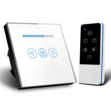 EU Standard RF433 Wireless Remote Control Touch Fan Speed Switch 500W, Ceiling Wall Switch, Crystal Glass Panel