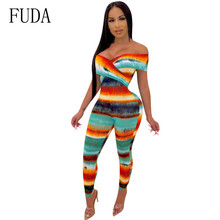 FUDA Sexy Seven-color Rainbow Colorful Jumpsuits Small V-neck Bodycon Bandage Playsuits Femme Printed Hollow Out Club Overalls